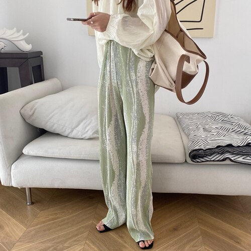 Gagarich Women Casual Pants Korean style Chic Summer Ladies Color Stripe Loose Pants Pleated High Waist Thin Wide Leg Trousers