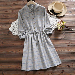 Mori Girl 2019 Spring Autumn Women Dresses Stand Collar Elbise Long Sleeve Vintage Dress Polka Dot Printed Femininos Vestidos