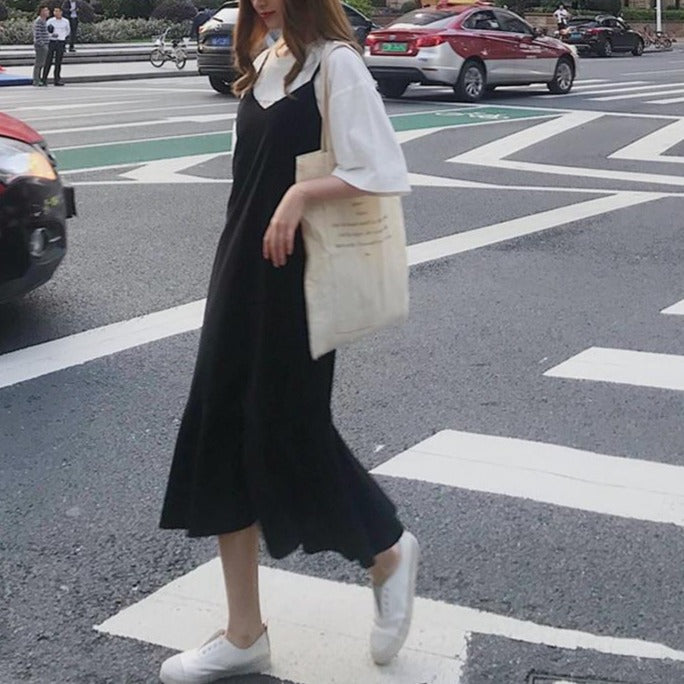 Dresses Women Solid Simple Trendy Chiffon Trumpet Korean Style A-line Spaghetti Strap Womens Dress All-match High Quality Lovely