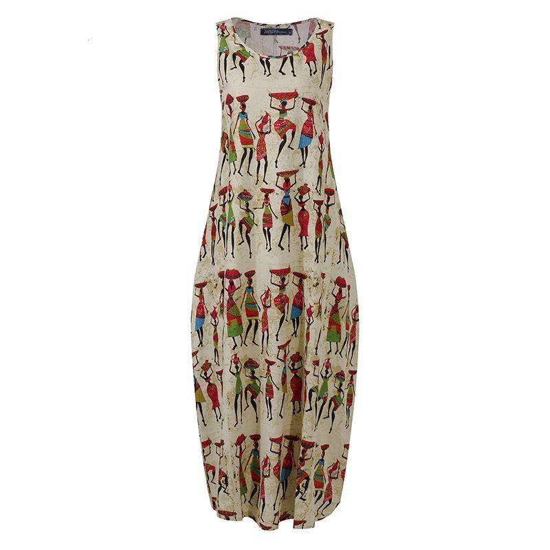 ZANZEA Women Cotton Linen Dress Vintage Summer Floral Printed Long Dress Sleeveless Sundress Baggy Beach Vestido Sarafans 5XL