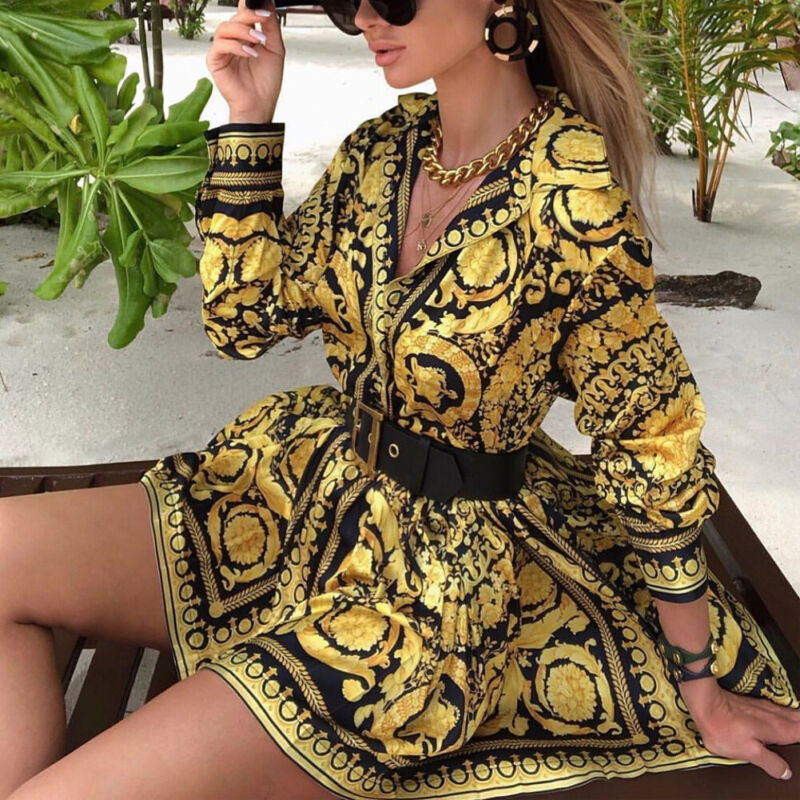 Fashion Vintage Womens Boho Dress 2020 Spring Loose Long Sleeve Party A-Line Dress Ladies Sexy V-neck Swing Short Mini Dresses