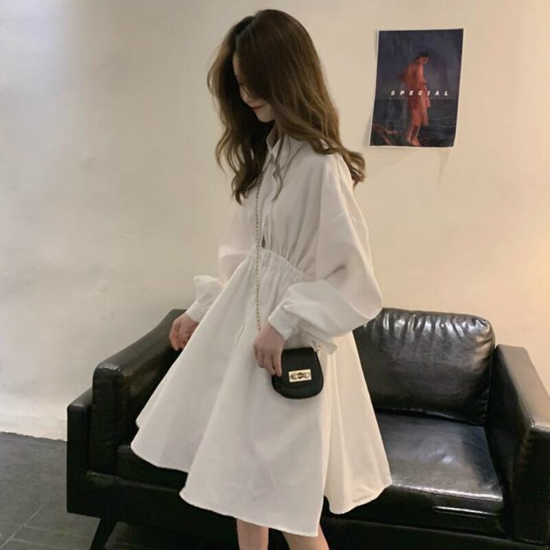 Dress Long Sleeve Preppy Style Solid Sweet Simple Elegant Pleated Stylish New Students Womens Slim Daily Streetwear High Waist