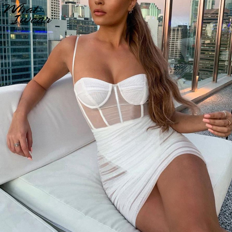 Women See Through Mesh Sexy Dresses Sleeveless Strapless Bodycon Mini Vestido Fashion Elegant Sheath Club Party New Autumn