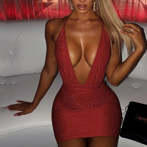 Women Skinny Mini Pencil Dress Summer Night Clubwear Ladies Evening Party Slim Dresses Sundress Sleeveless Deep V Neck Vestidos