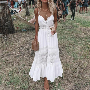 2020 Fashion Boho Long Maxi Dress Women Summer Ladies Sleeveless White Beach Dress Evening Party Casual Dresses Vestidos