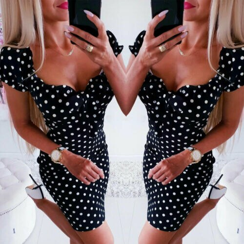 Dresses Summer Dress Women Girl Boho Polka Dot Sexy Bodycon Dress Summer Holiday Sundress Beachwear New
