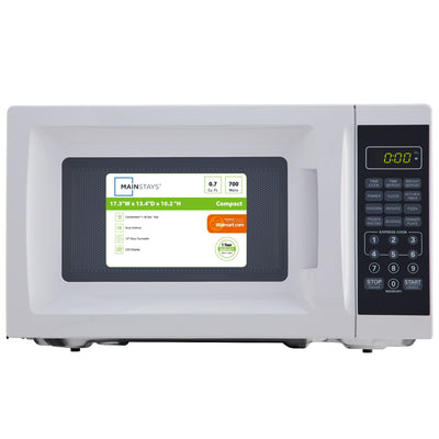 Mainstays 0.7 Cu. Ft. 700W White Microwave with 10 Power Levels (5869197230245)