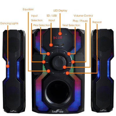 beFree Sound 2.1 Channel Bluetooth Multimedia Wired Speaker Shelf Stereo System with Reactive LED Lights, FM Radio, USB, and SD Inputs (5871073296549)