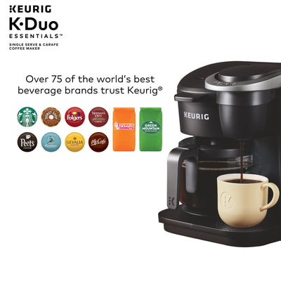 Keurig K-Duo Essentials Coffee Maker, with Single Serve K-Cup Pod and 12 Cup Carafe Brewer, Black (5868435210405)