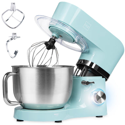 Best Choice Products 6.3qt 660W 6-Speed Tilt-Head Stainless Steel Kitchen Mixer w/ 3 Attachments, Splash Guard - Teal (5868479414437)