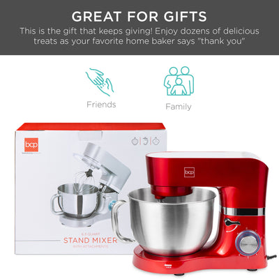 Best Choice Products 6.3qt 660W 6-Speed Tilt-Head Stainless Steel Kitchen Mixer w/ 3 Attachments, Splash Guard - Red (5868477317285)