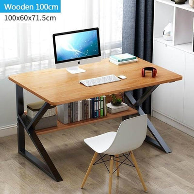 "Mrosaa 39"" Modern Style Computer Laptop Desk with Bookshelf (5854049337509)"