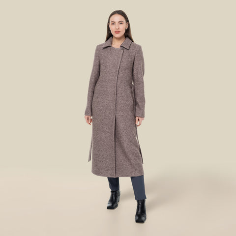 Model wearing the mauve Lydia trench coat