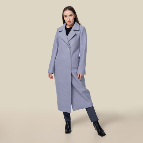 Model wearing the lavender Lydia trench coat