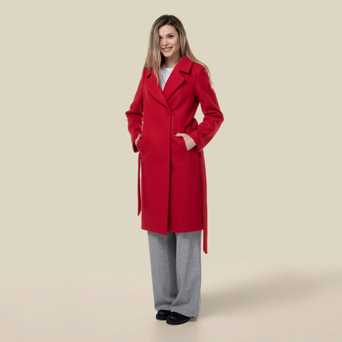 Model wearing the red Alicia pea coat