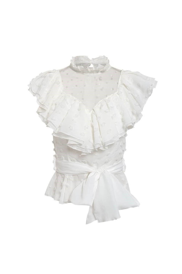 White ruffle top - Celle - DennisMaglic.com