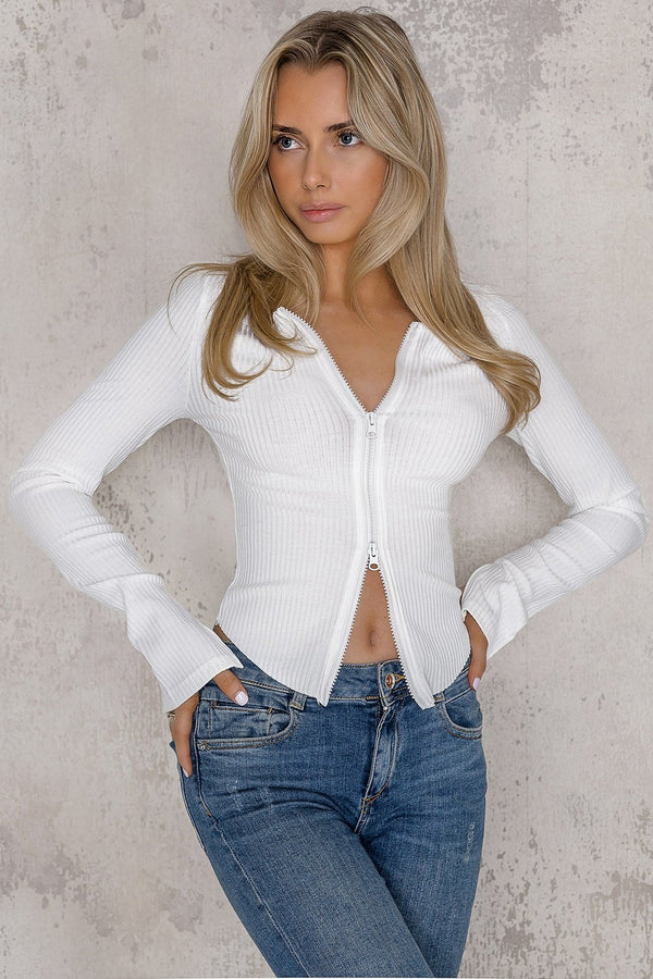 White zip sweater - Kylie - DennisMaglic.com