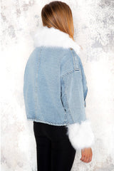 Blue denim jacket with faux fur - Kayla - DennisMaglic.com