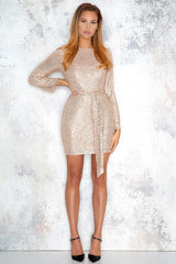 Exclusive gold colored sequin dress - Normani - DennisMaglic.com