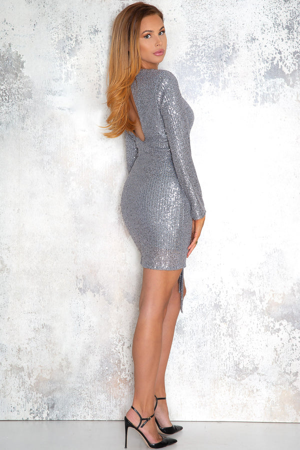 Exclusive silver gray sequin dress - Normani - DennisMaglic.com