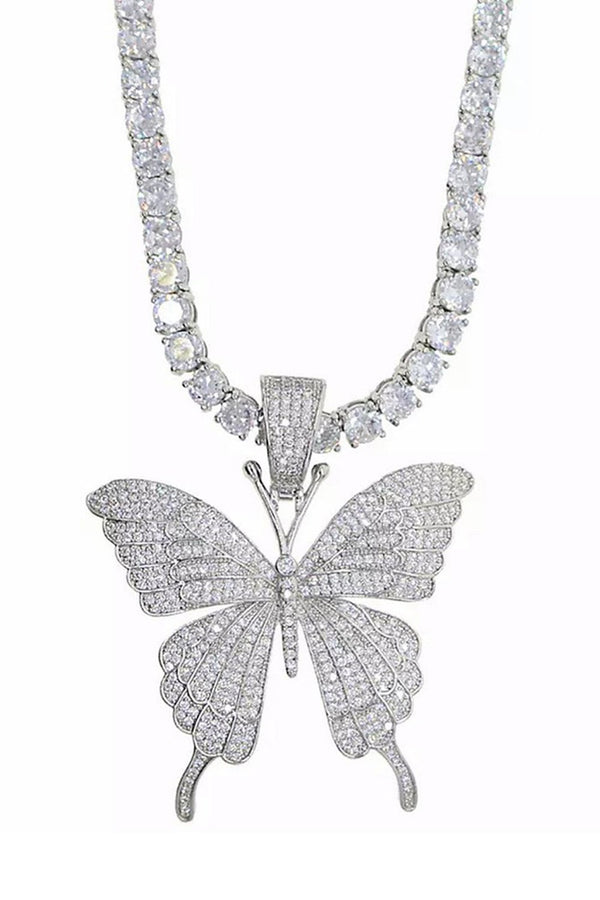 Single Butterfly Bling Necklace - DennisMaglic.com
