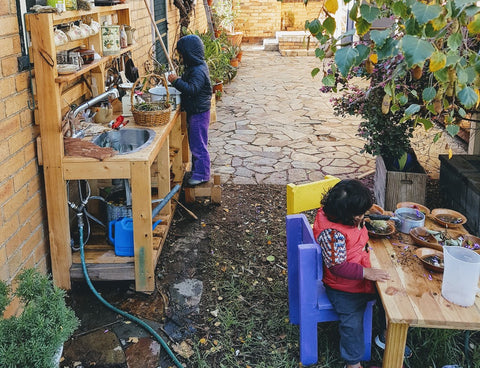 Our mud kitchen area