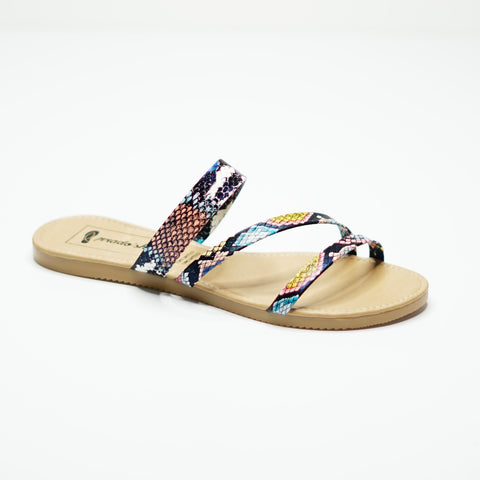Sandalias Planas con animal print de colores