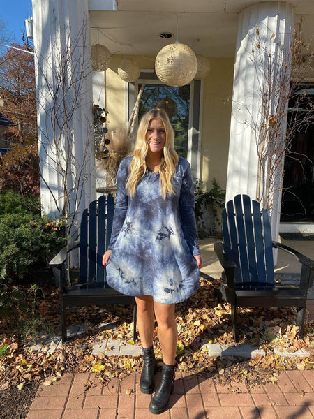 Blue Tie-Dye Dress
