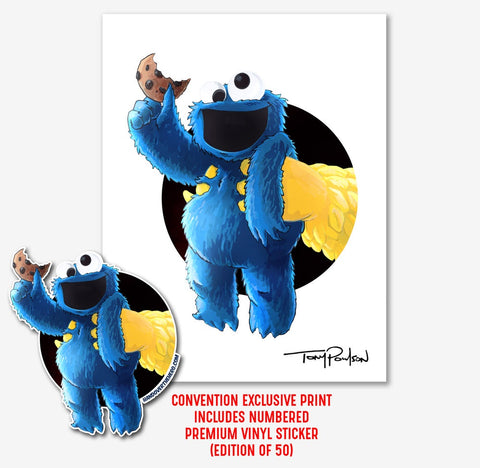 Cookie Monster / Big Bird LIMITED EDITION Print + Vinyl Sticker