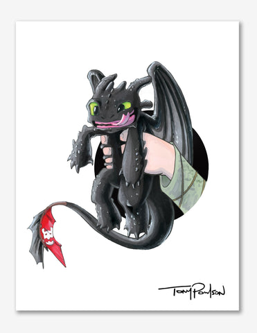 Toothless / Hiccup Premium Art Print