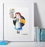 Blue Dress Belle / Gaston Premium Art Print