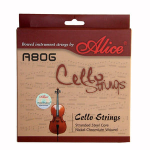 Alice A806 Cello Strings Stranded Nickel Ni-Fe Chromium Wound Steel Core Nickel-Plated 4/4 - Moran Education