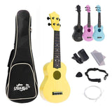 4 Strings 21 Inch Soprano Acoustic Ukulele Colorful Uke Hawaii Guitar Guitarra Musica Instrument for Kids and Music Beginner - Moran Education