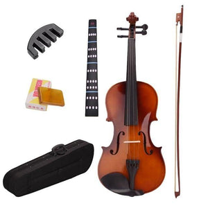 4/4 Full Size Natural Acoustic Violin Fiddle With Case Bow Rosin Mute Stickers Solid wood Violin for music lovers!! - Moran Education
