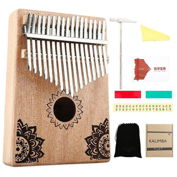 17 Key Kalimba African Solid Wood Thumb Finger Piano Sanza Mbira Calimba Play with Guitar Wood Musical Instruments - Moran Education