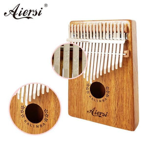 Aiersi Solid Koa 17 Keys Gecko Kalimba Thumb Piano Calimba Musical gift with Song instruction book Tune Hammer and bag - Moran Education
