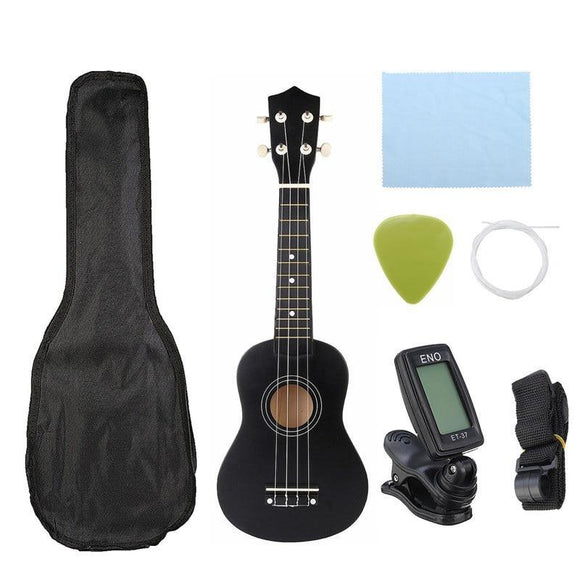Ukulele Combo 21 Ukulele Black Soprano 4 Strings Uke Hawaii Bass Stringed Musical Instrument Set Kits+Tuner+String+Strap+Bag - Moran Education