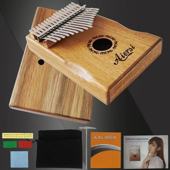 Full Pack Aiersi Gecko Design Armrest 17 Keys Kalimba Portable Solid Koa Finger Thumb Piano calimba With bag songbook hammer - Moran Education