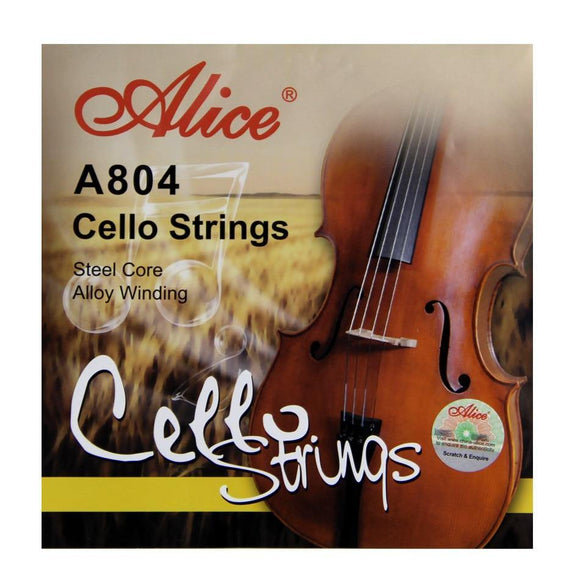 Alice A804 Cello Strings Steel Core  Aluminum Alloy Wound  Nickel-Plated Ball-End - Moran Education