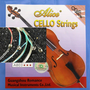 Alice A803 Cello Strings Steel Core Nickel Silver Wound Nickel Plated Ball End Alloy winding Suitable for 4/4 cellos - Moran Education