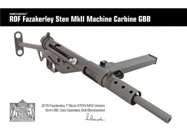 Northeast Airsoft - ROF Fazakerley Sten MK2 Machine Carbine Gas Blow Back