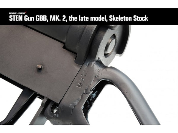 Northeast Airsoft - ROF Fazakerley Sten MK2 Machine Carbine Gas Blow Back (Late Model, Skeleton Stock)
