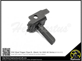 Hephaestus - CNC Steel Trigger (Type B - Black) for GHK AK Series