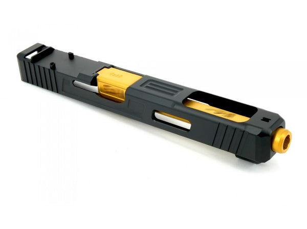 Guns Modify S Style G34 RMR Aluminum Slide With Stainless Steel Gold Barrel Set for TM G17/18C Ver.2