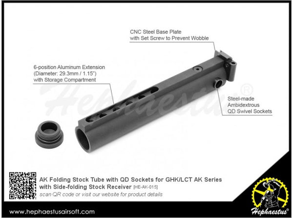Hephaestus AK Folding Stock Tube with QD Sockets for GHK / LCT Side-Folding Stock Receiver AK Series