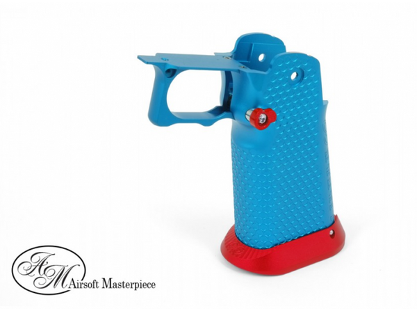 Airsoft Masterpiece Aluminum Grip for Hi-CAPA Type 1 (Blue with Red)