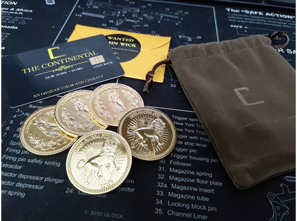 John Wick - Gold Coin Dummy and Continental Hotel Key Card Set