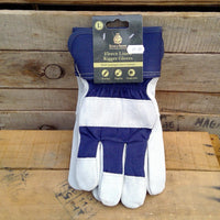 Fleece lined Rigger Gloves - Blue Large