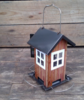 Seed House Feeder - Black Roof with White Windows