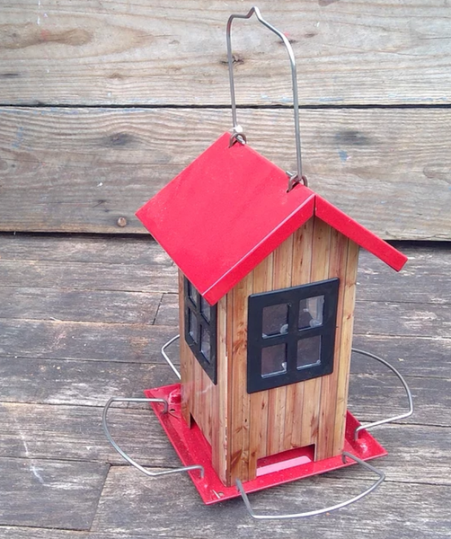 Seed House Feeder - Red Roof with Black Windows